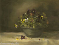 """Warm Light, Pansies"" Debra Sepos original oil 8"" x 10"" pansy violet still life"