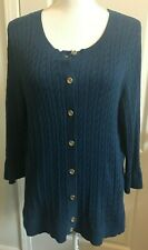 TALBOTS Womens Cardigan Sweater BLUE Cable Knit 3/4 Sleeve Size 2XP Petite