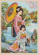 Cross stitch chart  Oriental Lady & Daughter 194 FlowerPower37-uk FREE UK P&P