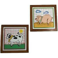 Barnyard Collection Pig & Cow Tile Trivets Wood Frames 7x7 Wall Decor