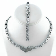STAINLESS STEEL I LOVE YOU SILVER TONE HEART NECKLACE BRACELET SET STAMPATO 18""