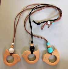 Womens Ladies Wooden Bird Pendant Necklace White Aqua Black suede leather Aussie