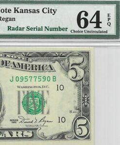 RADAR SERIAL #, 1981 $5 KANSAS CITY FRN, PMG CHOICE UNCIRCULATED 64 EPQ BANKNOTE