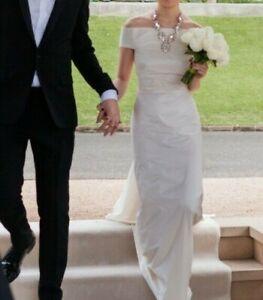 Carla Zampatti Off The Shoulder Taffeta Wedding Dress - Ivory - Size 4