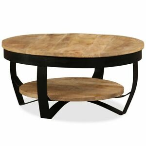 Unique Coffee Table Industrial Wood Designer Drum Shaped Unusual Small Furniture