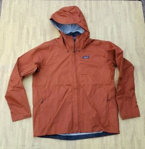 Patagonia Full Zip Windbreaker Rain Jacket Hooded Men's Large L Burnt Orange