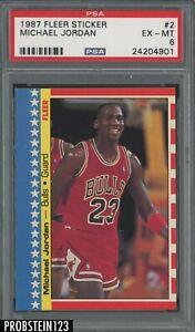 1987 Fleer Sticker Basketball #2 Michael Jordan Chicago Bulls HOF PSA 6 EX-MT