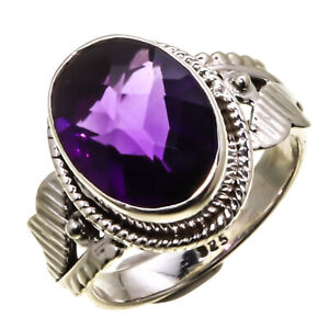 Facited Amethyst Natural Gemstone Sterling Silver Handmade Jewelry Ring