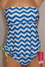 NWT Hula Honey Swimsuit Tankini 2pc set Sz L Strapless White Blue