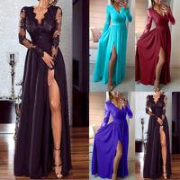 Elegant Women Deep V-Neck Lace Long Sleeve Evening Party Prom Wedding Maxi Dress