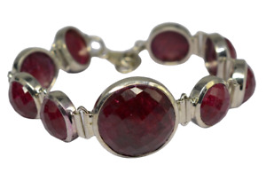 Royal Ruby gemstone bracelet ethnic 925 Sterling silver 8 inch bracelet 35.68gms