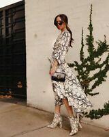 EUC size 6 SHEIKE Instinct Dress RRP $189.95 snakeskin print, twist knot bust