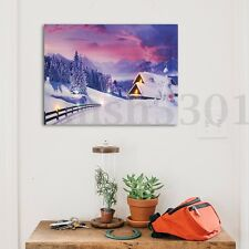 LED Lighted Light-up 30x40 Snow Cabin Canvas Art Picture Print Home Wall Decor