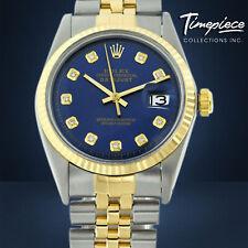 Rolex Mens Watch 36mm 18k Gold & Steel Metal Blue Diamond Dial Yellow Gold Bezel