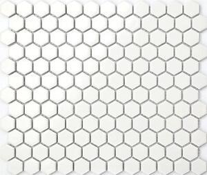 White Hexagonal Gloss Mosaic Wall Floor Tiles Ceramic Sheets Bathroom GTR10089