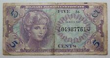 Vintage 1960'S Vietnam 5 Cent Military Payment Certificate Note, Paper Money