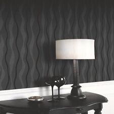 GLITZ BLACK TEXTURE WAVE SPARKLE VINYL QUALITY FEATURE ARTHOUSE WALLPAPER 887000
