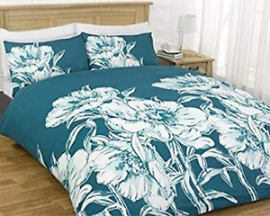 Polycotton Bedding Amelia Teal Duvet Cover Set With Pillowcases Double Size