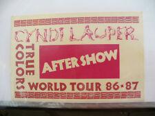 BACKSTAGE PASS CYNDI LAUPER WORLD TOUR 86 87