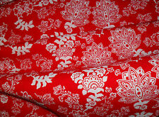 1M RED FLOWERS Batik Fabric Material COTTON Patchwork Crafts Quilting Sewing