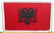 ALBANIA FLAG Embroidered Iron-On PATCH ALBANIAN EMBLEM White Border