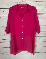 Soft Surroundings Women's S Small Pink Button 3/4 Sleeve Spring Tunic Top Blouse