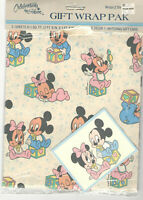 VTG 1984 DISNEY MICKEY & MINNIE MOUSE GIFT WRAP PAK FOR BABIES! WRAPPING PAPER!