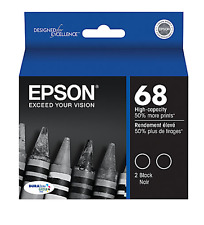 Epson Genuine 68 T0681 Black  2-pk Inkjet Cartridges WorkForce 500 600