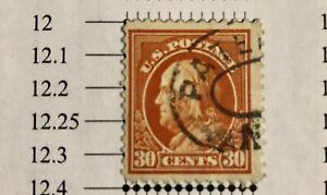 US Stamp-1914 Benjamin Franklin-30C-Orange red-Perf 12-very fine-Scott 347