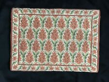 Vintage-Portugal-Arraiolos Handmade Rug Ca. 1960 -Orange Floral/Green Leaves