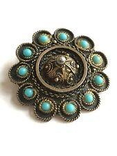 Vintage Sterling 930 Silver EILAT Seed Pearl Turquoise Brooch Pendant ISRAEL