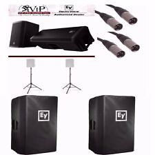 """EV ZLX15P 15"""" Powered Speakers + Ultimate Stands TS110B + Covers + Cables BUNDLE"""