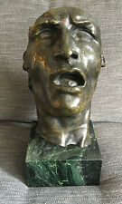 """After Auguste Rodin (French, 1840-1917) """"Mask of Sorrow"""" Bronze Bust on Marble"""