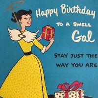 Vintage Mid Century Birthday Greeting Card Pretty Lady In Dress Angel Wings