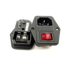 IEC320 Screw Mounting Inlet Male Plug Power Socket 4 Pin Fuse Rocker Switch UK