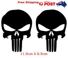 Two Punisher stickers skull vinyl car bike laptop 11.5cm X 8.5cm Black /white