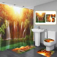 4Pcs Waterfull Bathroom Set RugToilet Lid Cover+Bath Mat + Shower Curtain