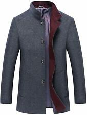 Men's Classic Stand Collar Single Breasted Woolen Short Car Coat Jackets Tops M