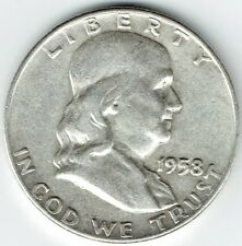 "A 1958 D Franklin Half Dollar 90% SILVER US Mint ""Average Circulation"""