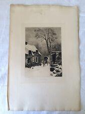 Gravure de Charles Joseph BEAUVERIE (1839-1924) - A Médan Près Poissy - Enneiger
