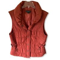 Tribal Womens Vest Jacket Red Snap Lined Collared L