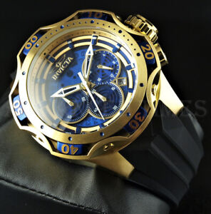 Invicta 52mm Venom Gen III Chronograph Blue Dial 18K Gold Tone SS Silicone Watch