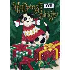 """Happiest Of Holidays Dog 12.5"""" X 18"""" Garden Flag 11-3411-50 Rain Shine Christmas"""