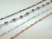 Vintage Estate Sterling Silver Gorgeous Tennis Bracelet Cubic Zirconia CZ Argent