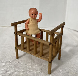 Vintage Lot 2 Dollhouse Celluloid Baby Doll Wood Crib Germany