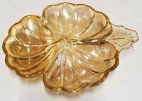 Vtg Carnival Glass Amber Marigold 3 Section or 3 Leaf Clover Candy Dish Nut Bowl