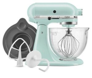 KitchenAid 5-Qt. Tilt-Head Stand Mixer with Glass Bowl, Ice Blue, KSM154GBQ3IC