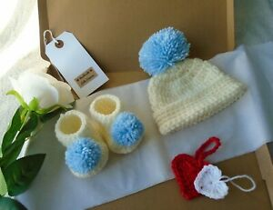 handmade crochet baby shoes hat set baby boy gift set knitted beanie gender