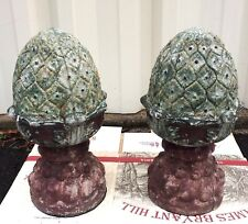 Pair of Stone Pineapple Finial Garden Statue Weathered Shabby Chic Lawn Decor
