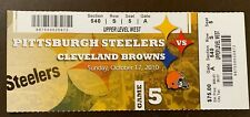 Pittsburgh Steelers 10/17/2010 NFL ticket stub vs Cleveland Browns
